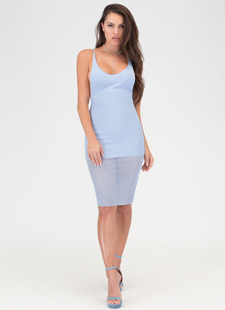 Give 'Em The Slip Sheer Mesh Dress BLUE