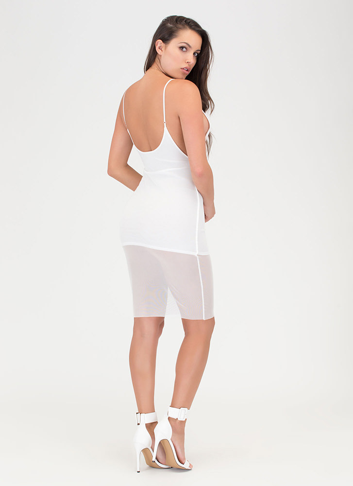 Give 'Em The Slip Sheer Mesh Dress WHITE (You Saved $19)