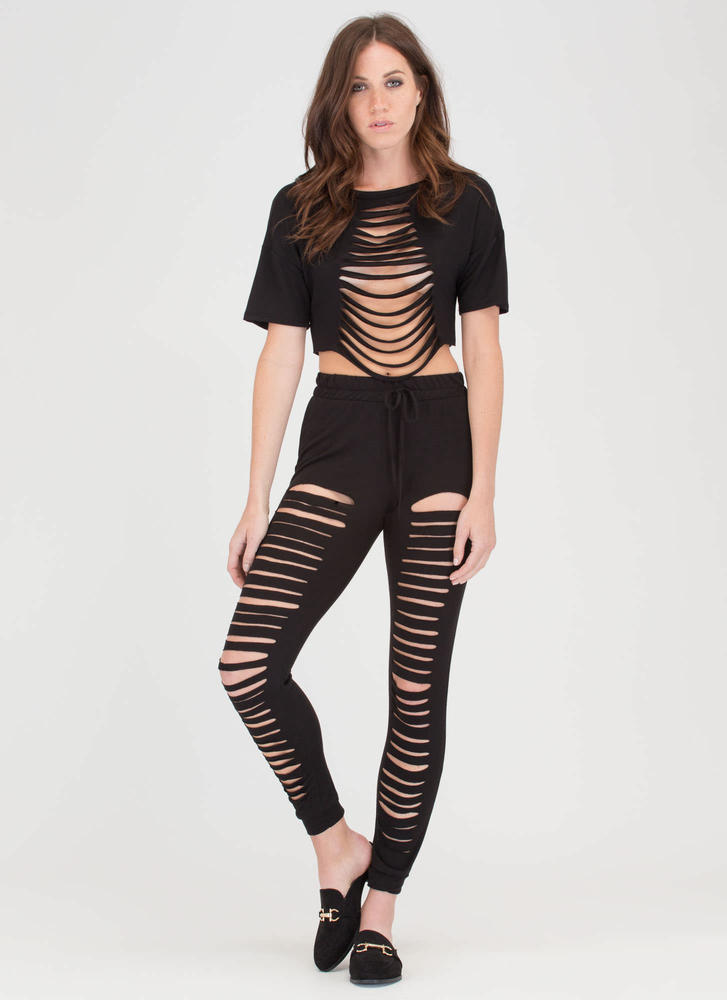 Slit List Crop Top 'N Pants Set BLACK (Final Sale)