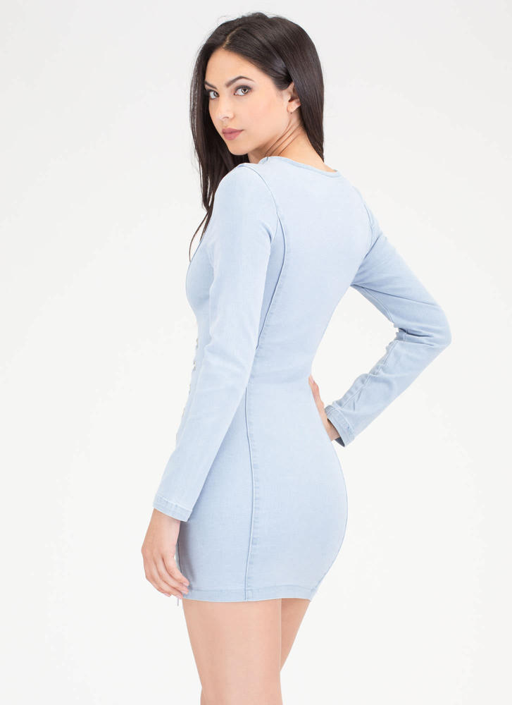 Tied For The Finish Plunging Denim Dress LTBLUE