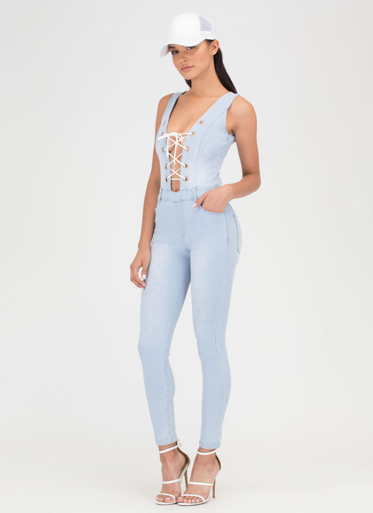 Tied Or Die Lace-Up Denim Jumpsuit LTBLUE