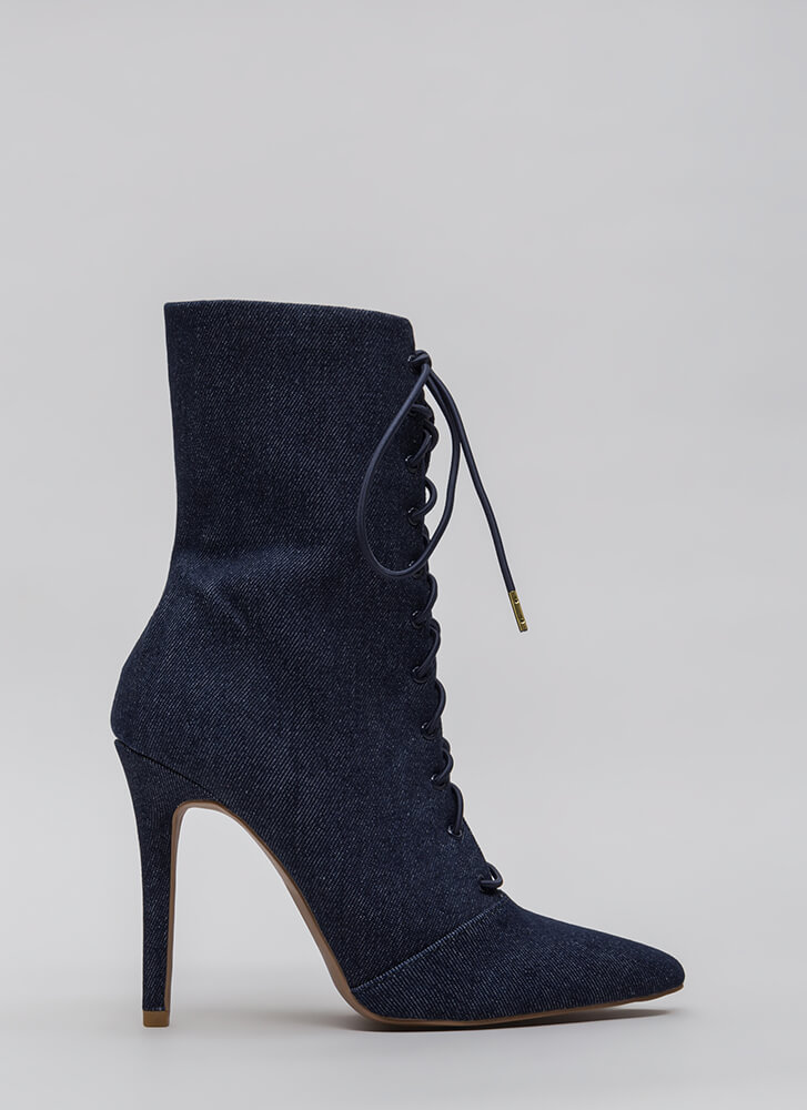 Point Taken Denim Lace-Up Booties BLUE