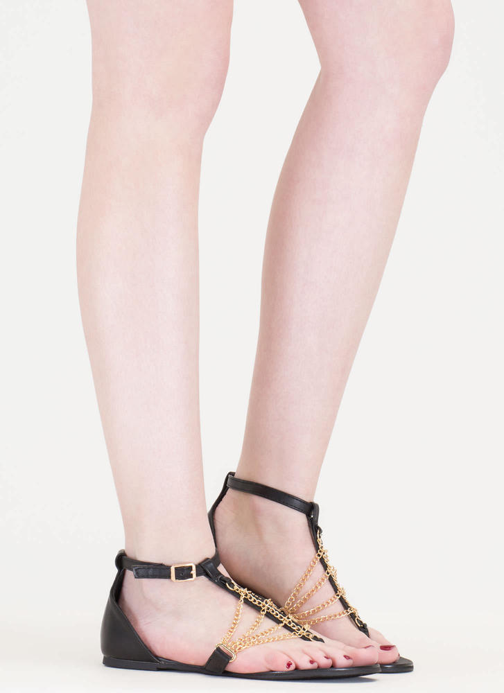 Chain Time Faux Leather T-Strap Sandals BLACK