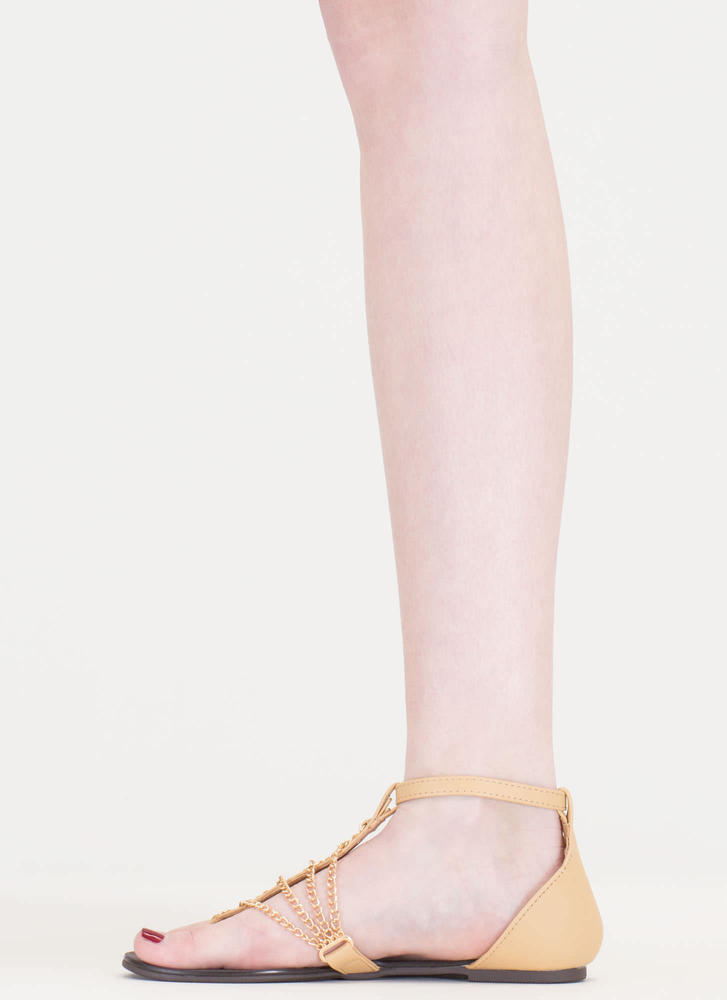 Chain Time Faux Leather T-Strap Sandals CAMEL