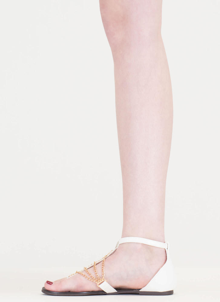 Chain Time Faux Leather T-Strap Sandals WHITE