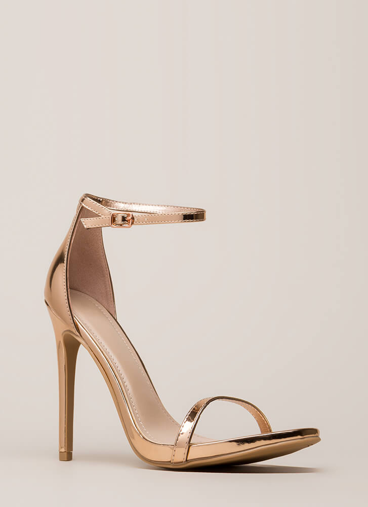 Sleek Out Strappy Metallic Heels ROSEGOLD