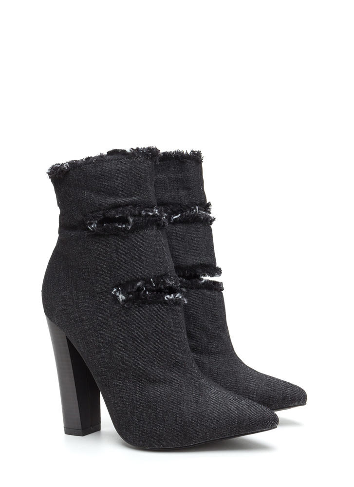 In The Jeans Distressed Chunky Booties BLACK
