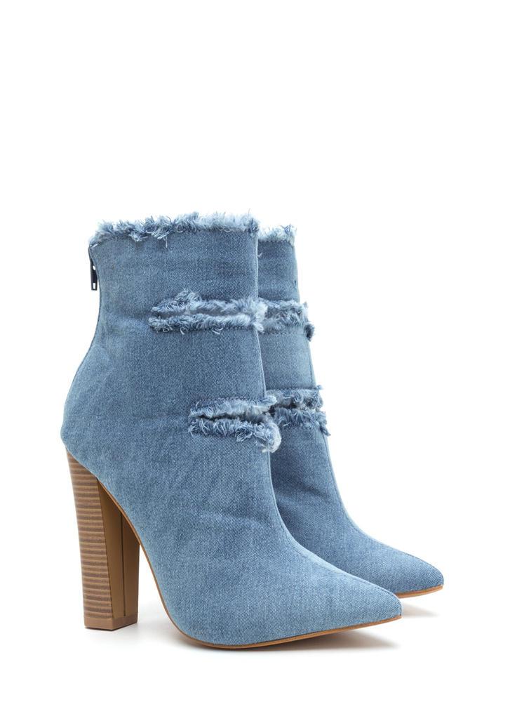 In The Jeans Distressed Chunky Booties BLUE
