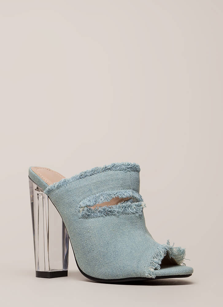 Fray A Game Clear Chunky Mule Heels BLUE (You Saved $23)