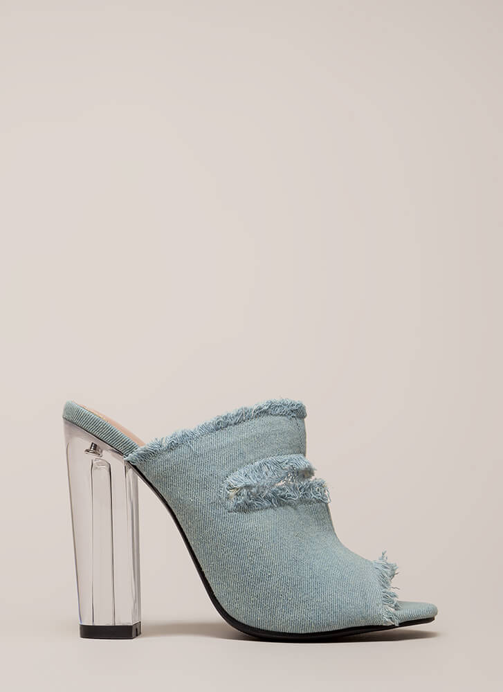 Fray A Game Clear Chunky Mule Heels BLUE