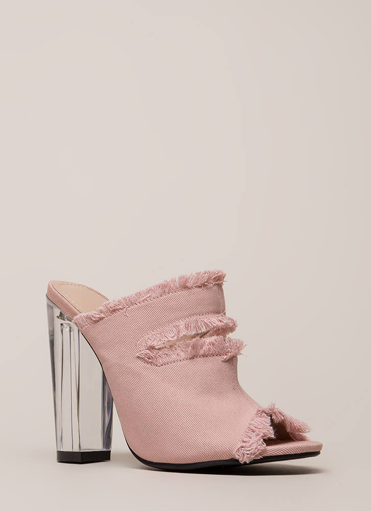 d39596b4d6 Fray A Game Clear Chunky Mule Heels PINK BLUE - GoJane.com