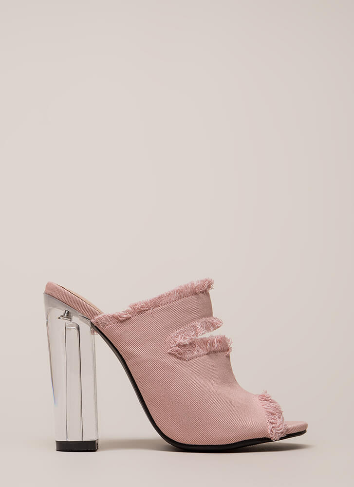 Fray A Game Clear Chunky Mule Heels PINK (You Saved $23)