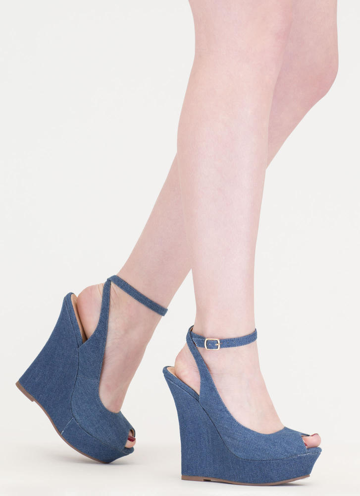 Slay Fair Denim Platform Wedges DENIM