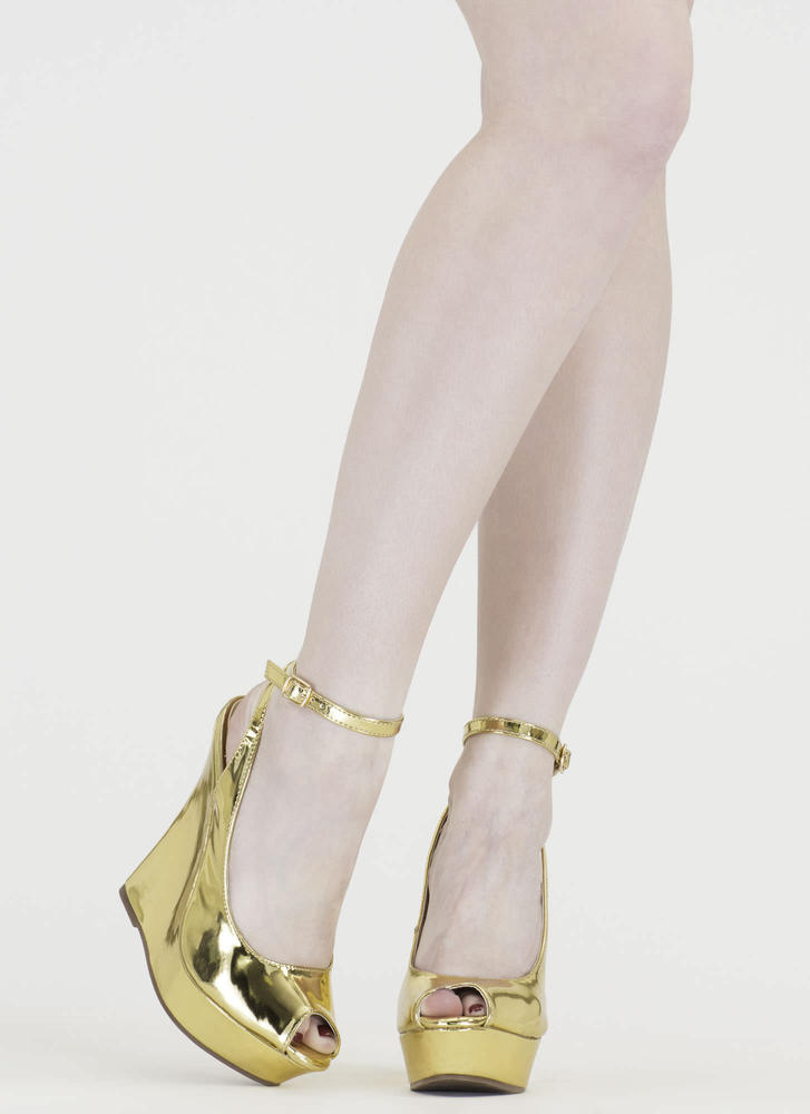 Slay Fair Metallic Platform Wedges GOLD