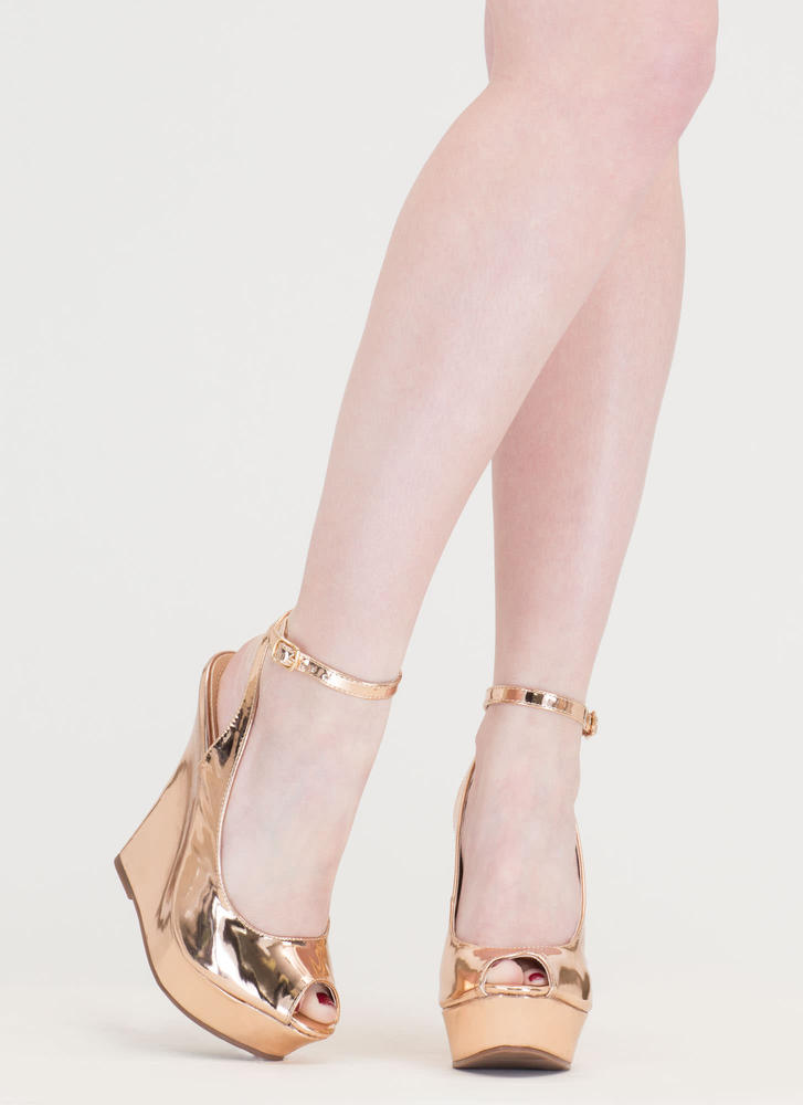Slay Fair Metallic Platform Wedges ROSEGOLD