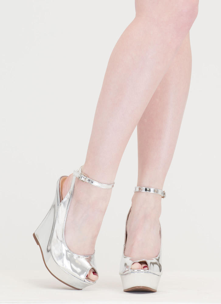 Slay Fair Metallic Platform Wedges SILVER