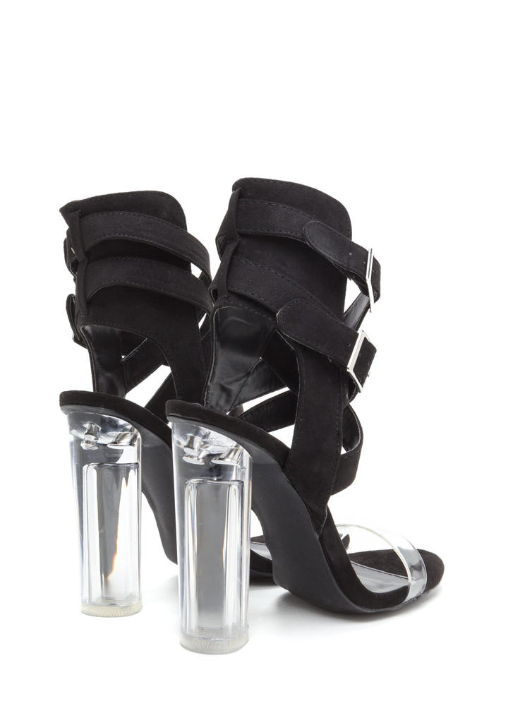 Clearly A Fine Evening Chunky Heels BLACK