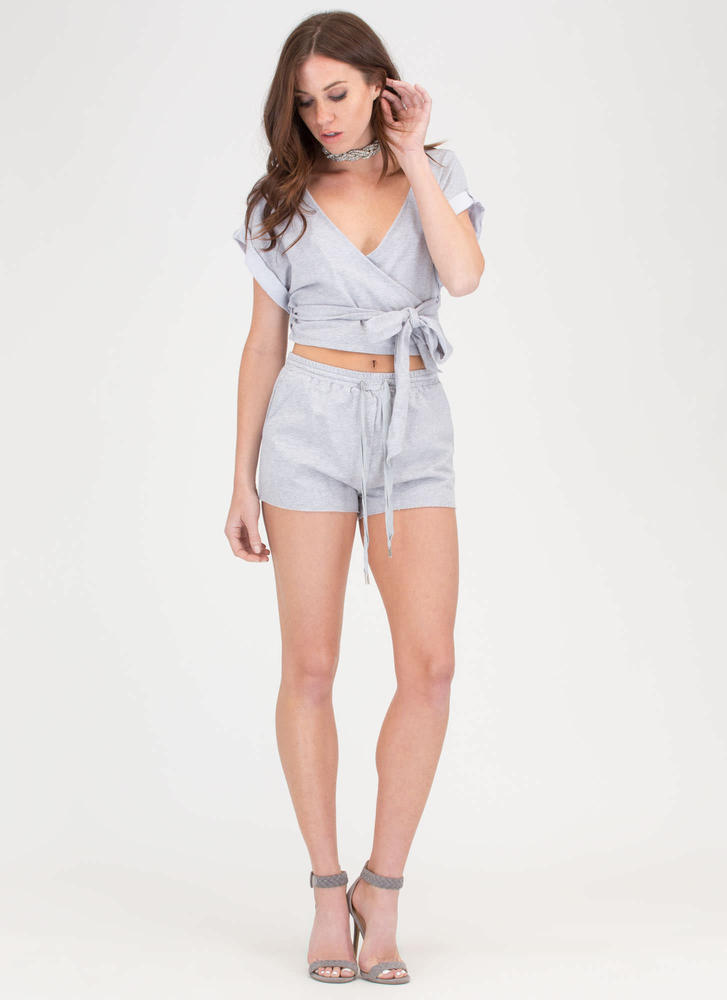 Relaxation Mode Wrap Top 'N Shorts Set GREY