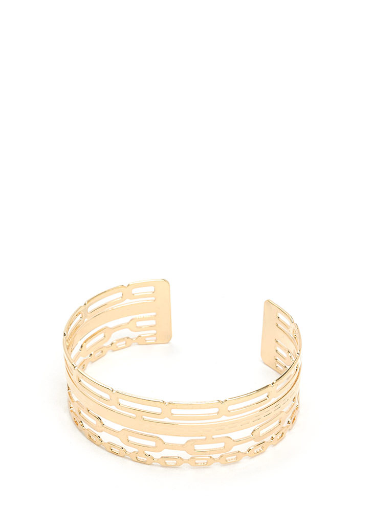 Stacked Illusion Cut-Out Chain Cuff GOLD