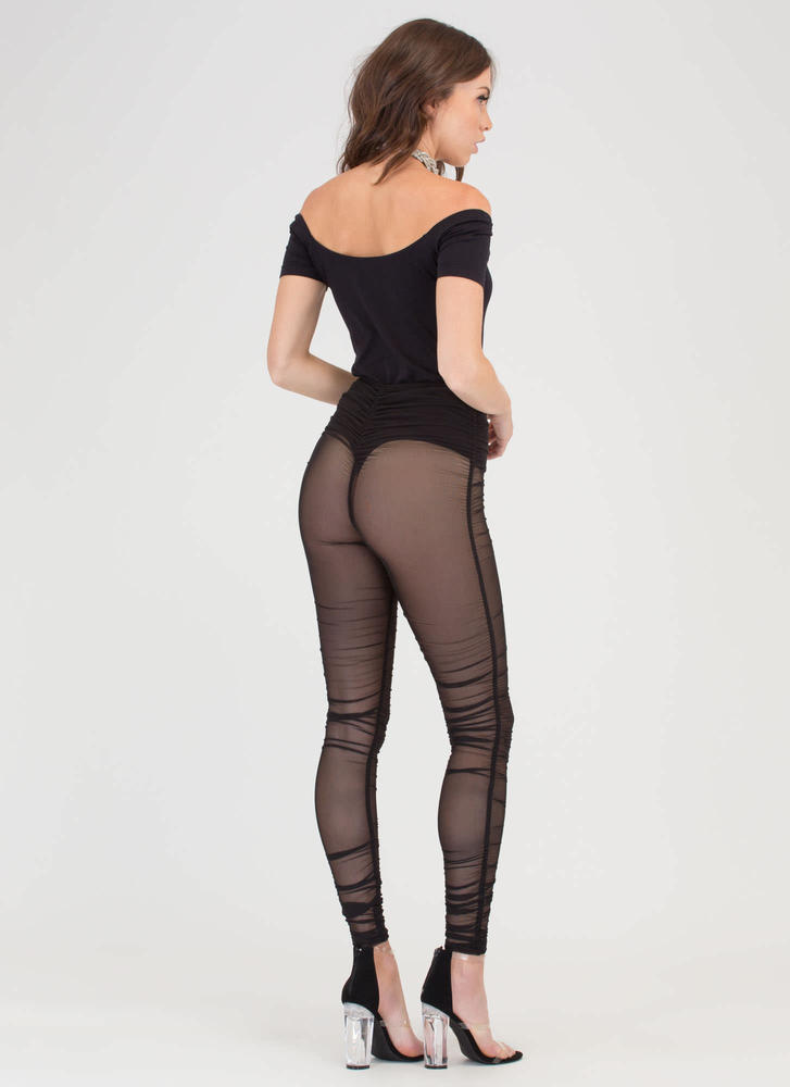 Ruched Into It Sheer Mesh Leggings BLACK