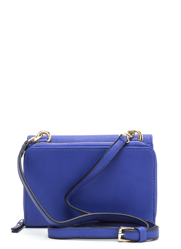 2 Become 1 Faux Leather Crossbody Bag ROYAL