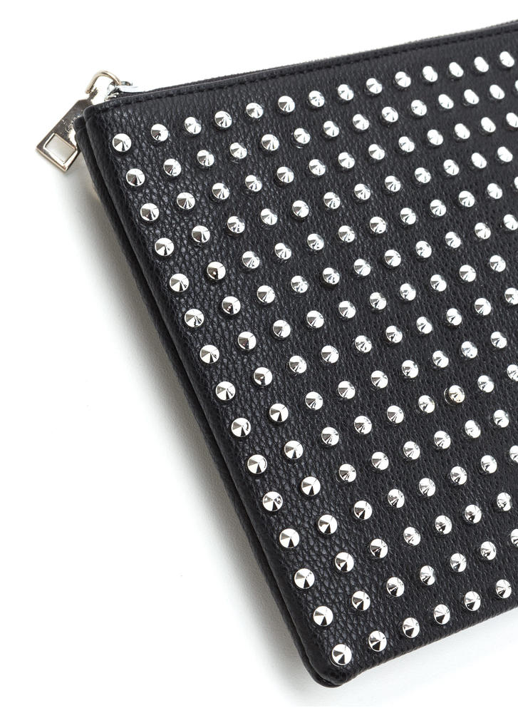Refined Punk Studded Faux Leather Clutch BLACK