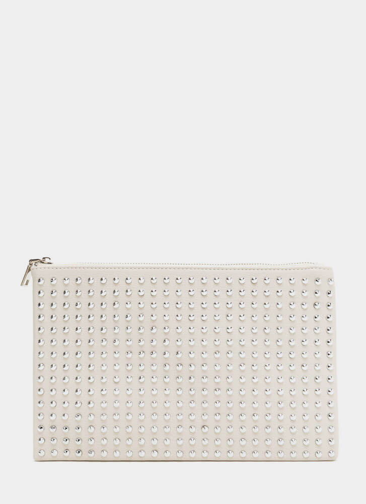 Refined Punk Studded Faux Leather Clutch IVORY