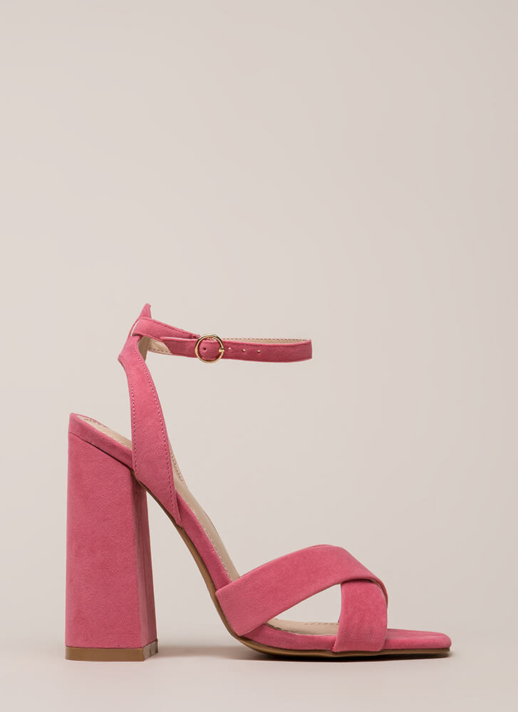 Cross Reference Chunky Strappy Heels CORAL (Final Sale)