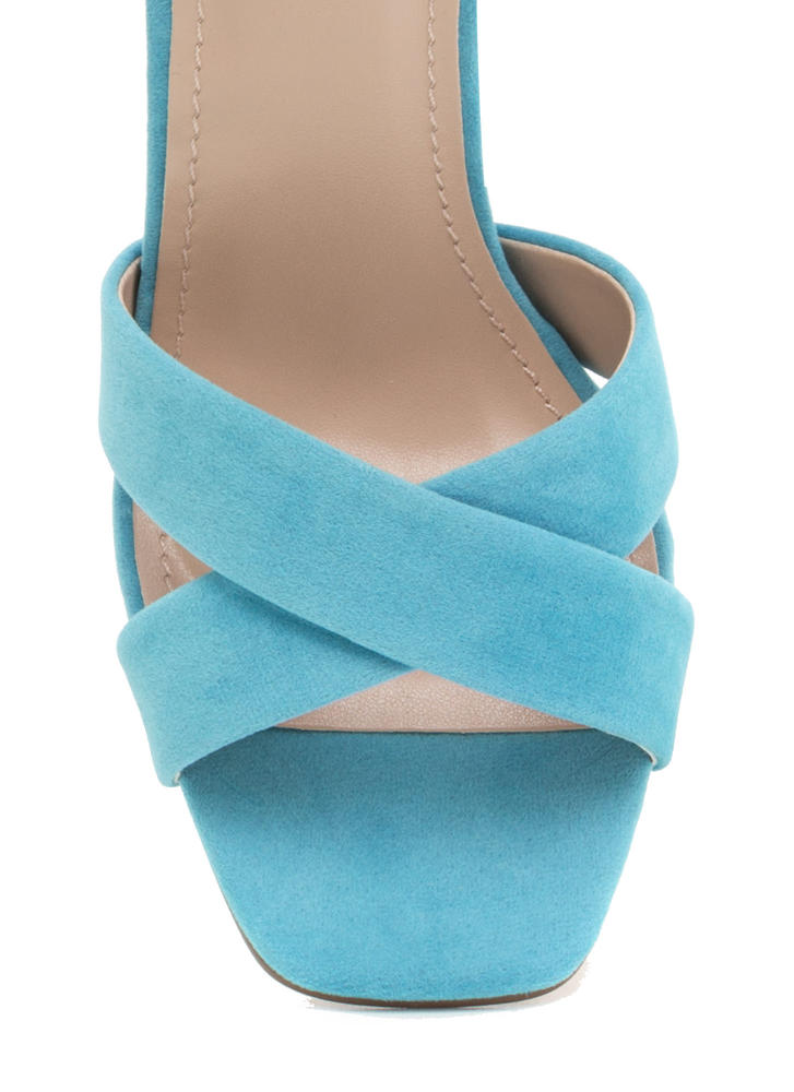 Cross Reference Chunky Strappy Heels LTBLUE (Final Sale)