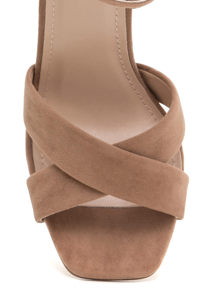Cross Reference Chunky Strappy Heels TAUPE (Final Sale)