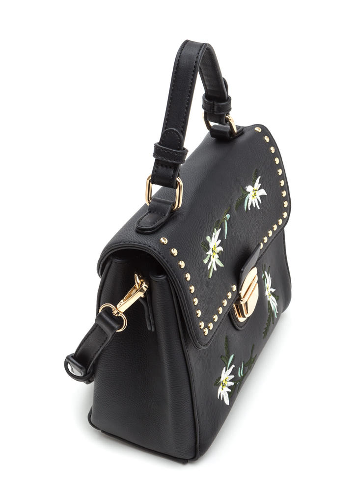 Sweet Bouquet Embroidered Studded Bag BLACK