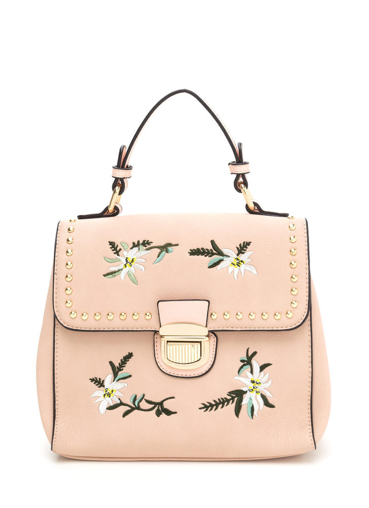 Sweet Bouquet Embroidered Studded Bag PINK