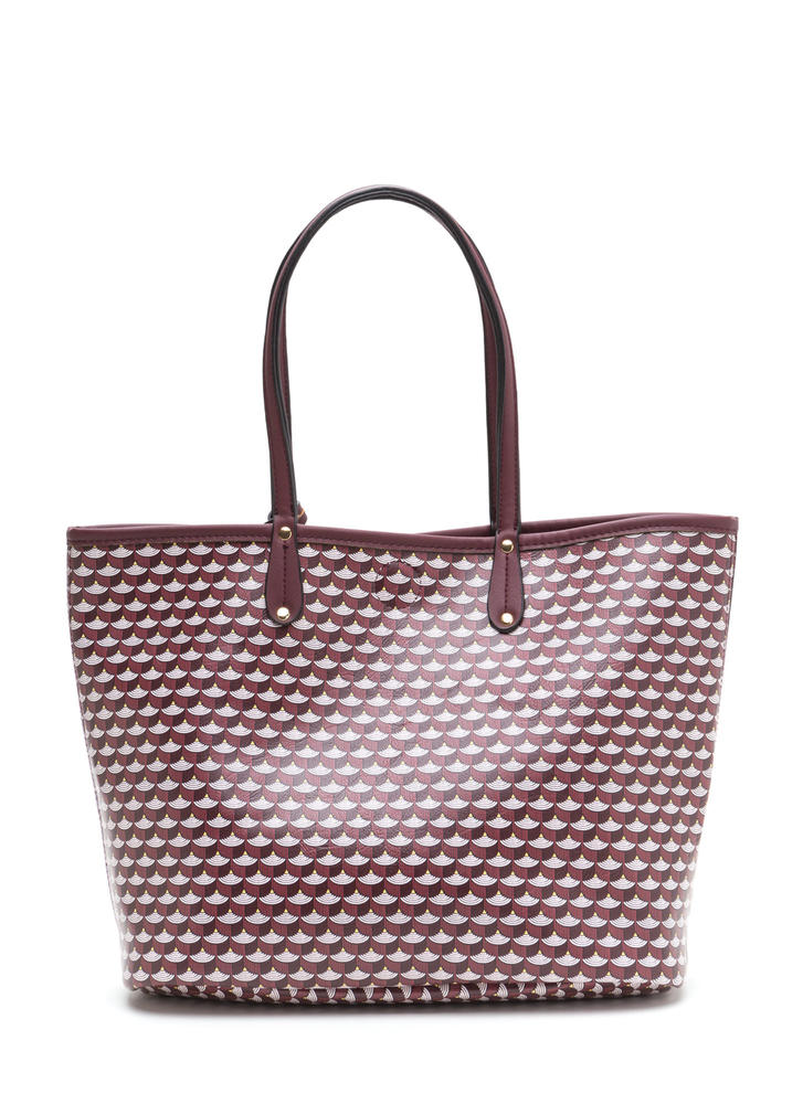 Woman About Town Printed Tote Bag BURGUNDY