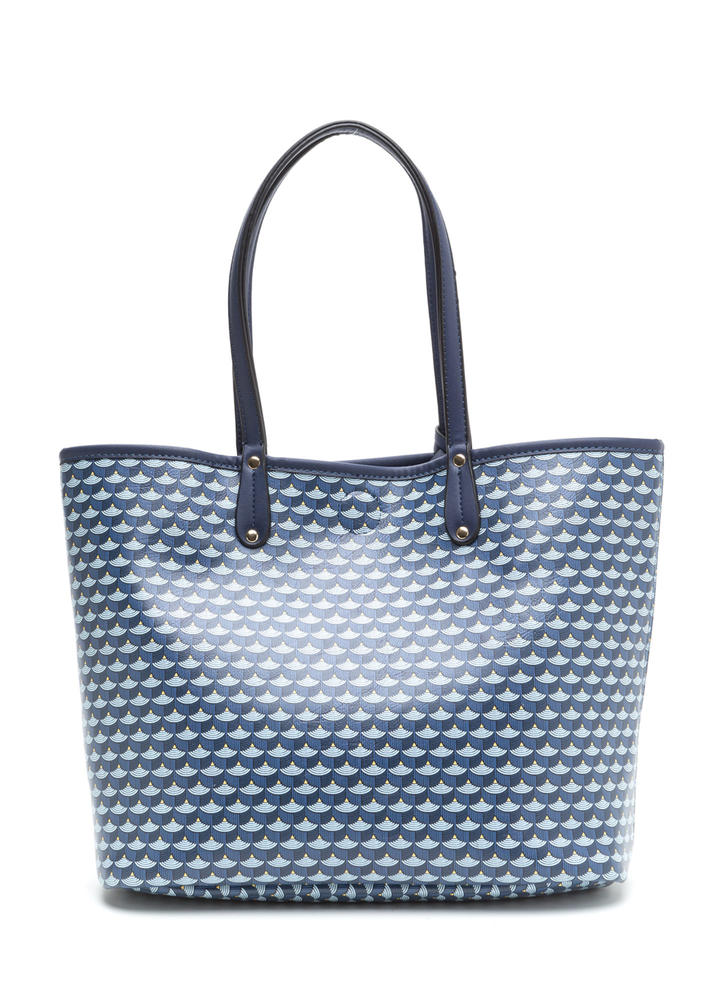 Woman About Town Printed Tote Bag NAVY