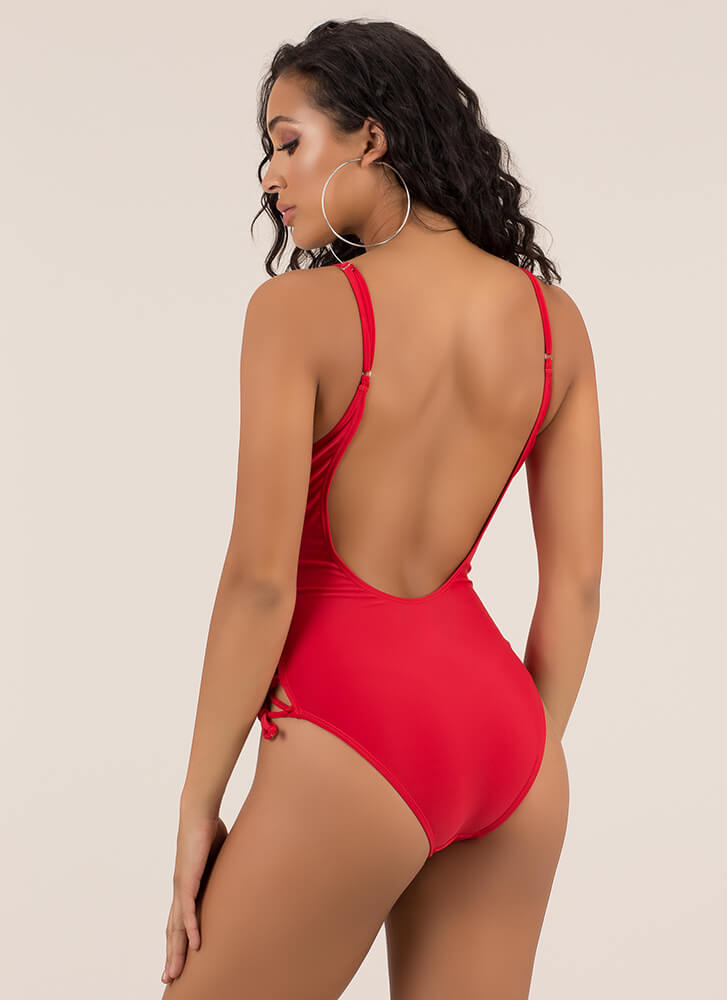 Watch The Tied One-Piece Swimsuit RED (Final Sale)