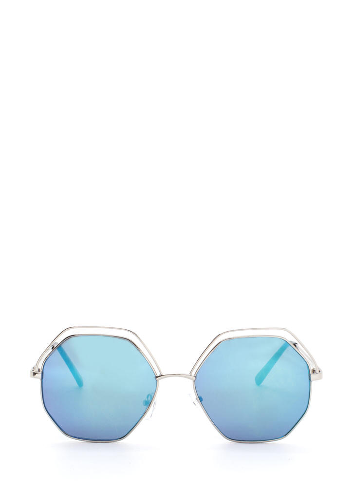 Try New Angles Mirrored Sunglasses BLUESILVER