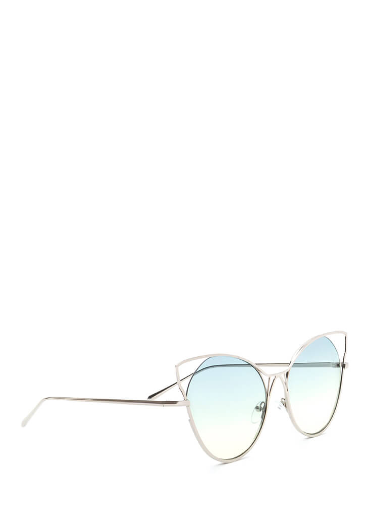 Purr-fect Cut-Out Cat Eye Sunglasses GREEN (You Saved $5)