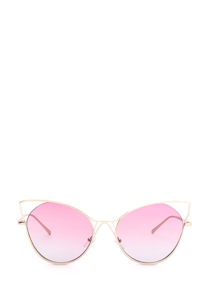 Purr-fect Cut-Out Cat Eye Sunglasses PINK (You Saved $5)