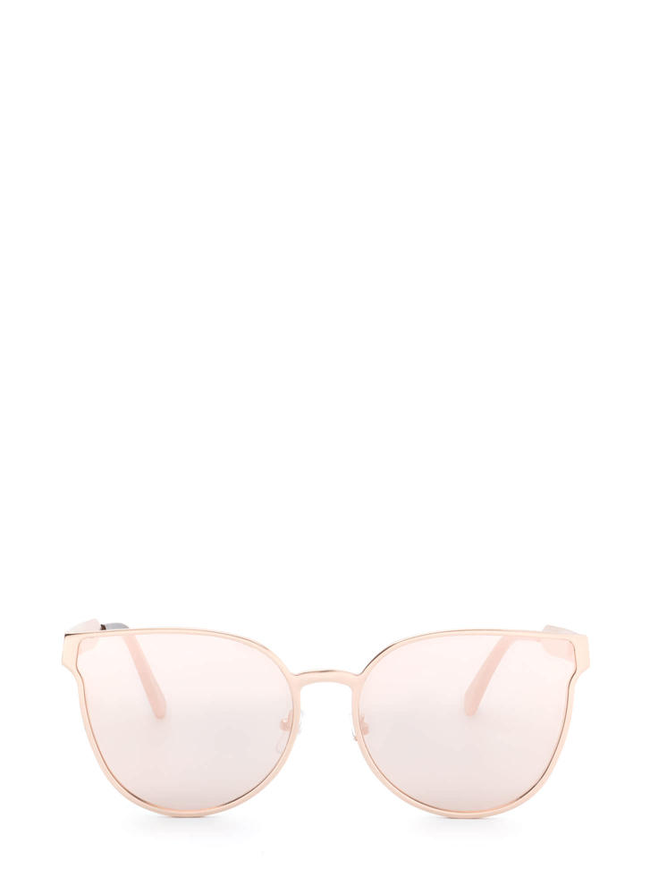 Drops The Subject Reflective Sunglasses GOLDPINK