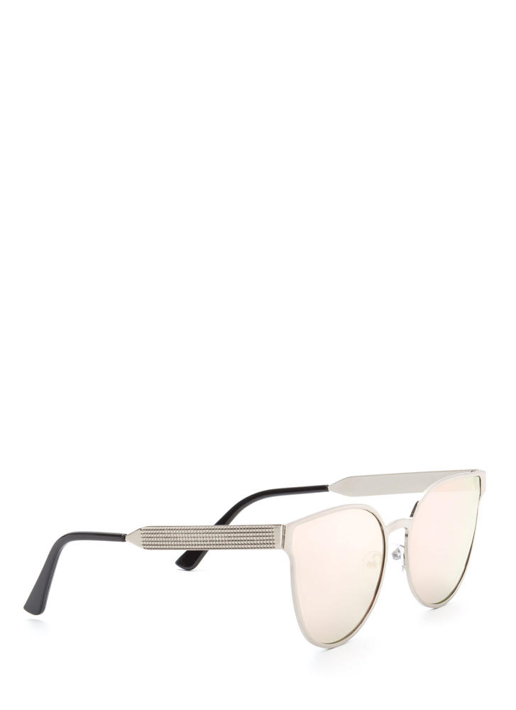 Drops The Subject Reflective Sunglasses SILVERPINK (You Saved $6)