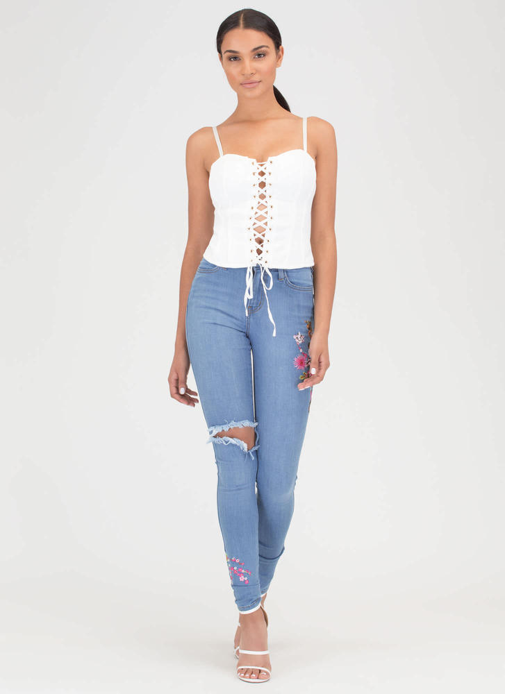 Bring The Drama Lace-Up Bustier Top WHITE
