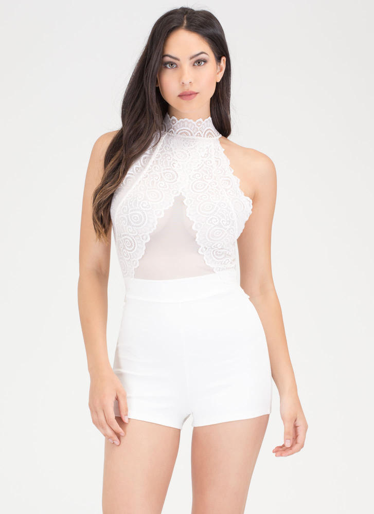 Lace The Test Mesh Inset Romper WHITE