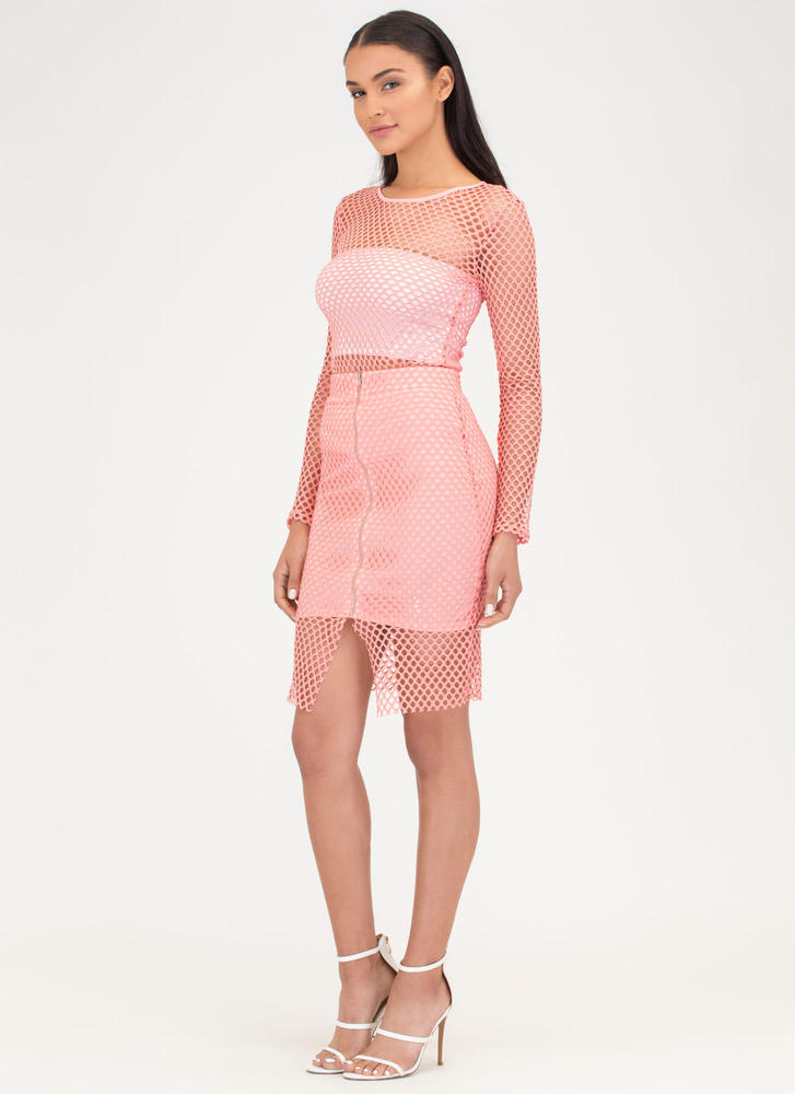 The Hole Thing Mesh Top And Skirt Set CORAL