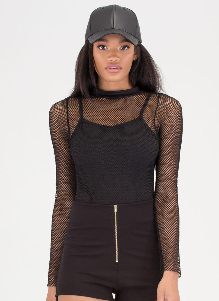 Netted Gain Sports Mesh Bodysuit BLACK