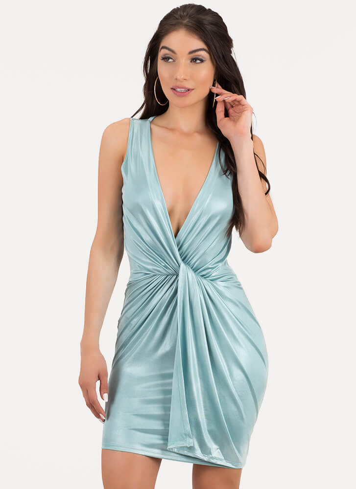 Sheen Stealer Plunging Twisted Dress MINT