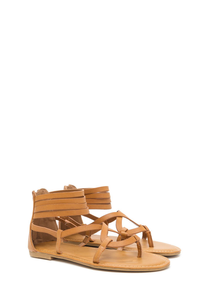 Gladiator Chic Strappy Caged Sandals TAN
