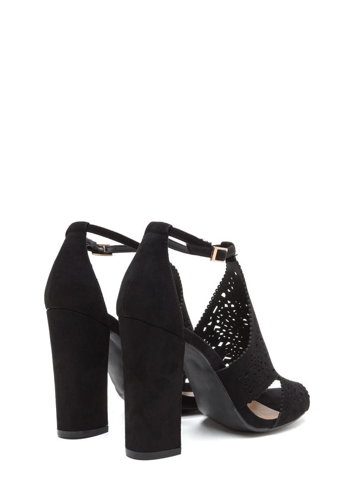 Style Decision Chunky Perforated Heels BLACK