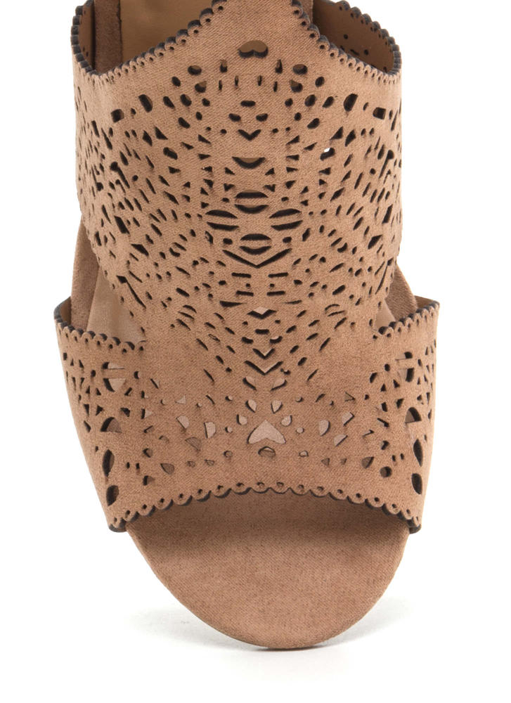 Style Decision Chunky Perforated Heels CAMEL