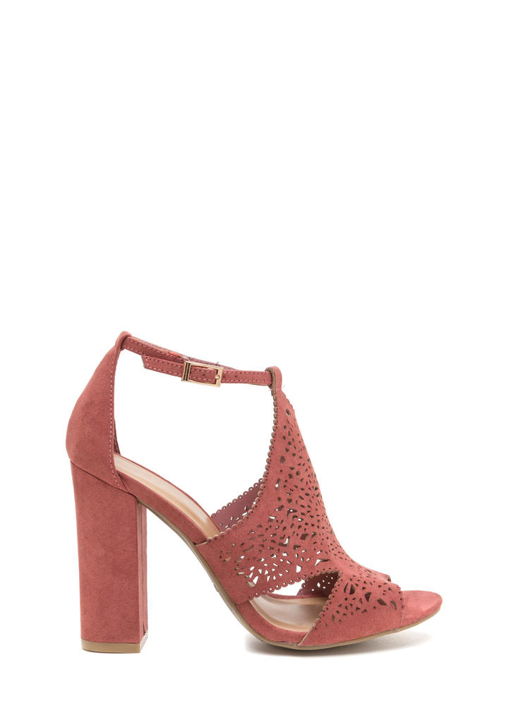 Style Decision Chunky Perforated Heels DKMAUVE