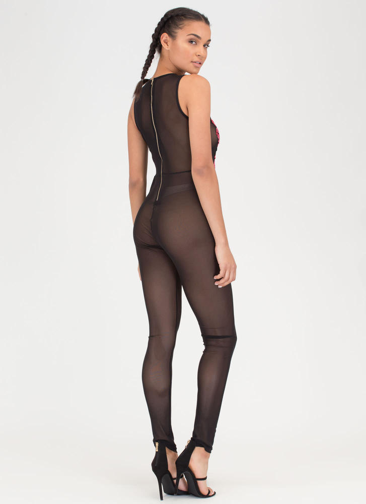 Rose To The Top Sheer Mesh Jumpsuit BLACK (You Saved $18)